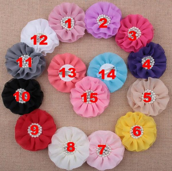 Pearl Rhinestone Cluster Flower Chiffon Rosette Flowers s Hair Accessories Hair Barrettes clips 15 colors free ship