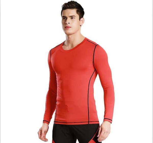 Men  039   tight training pro  port  fitne   running long  leeve ela tic quick drying pure color clothe