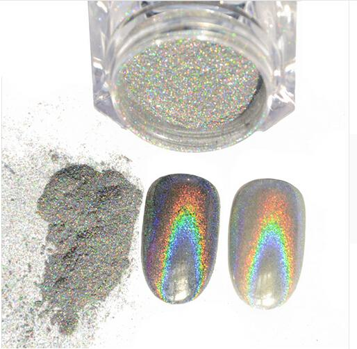 best selling 1g Box Shiny Laser Holographic Nail Glitter Dust Rainbow Chrome Pigment Manicure Pigments Nail Art Decorations