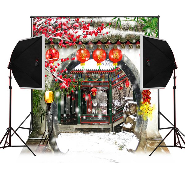 снег китайский дом сад живописные фотографии фонов для фото камеры fotografica цифровой ткань студия реквизит фото фон виниловые