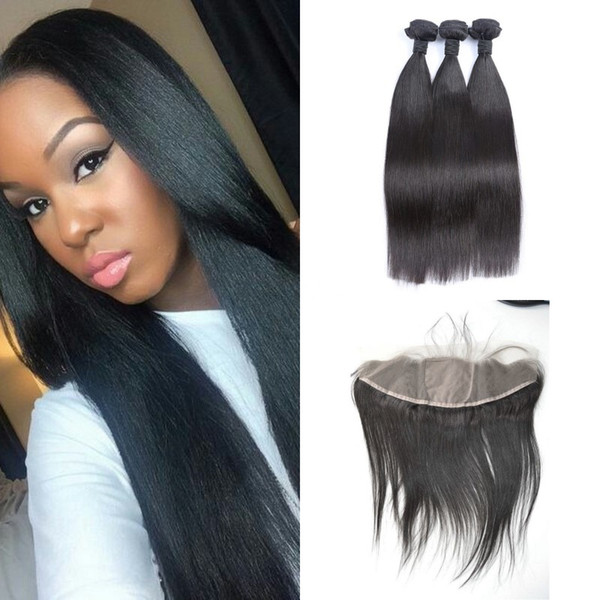 13x4 Silk Lace Frontal With 3pcs Brazilian Hair Bundles Virgin Unprocessed Human Hair Extensions Brazilian Straight Hair G-EASY
