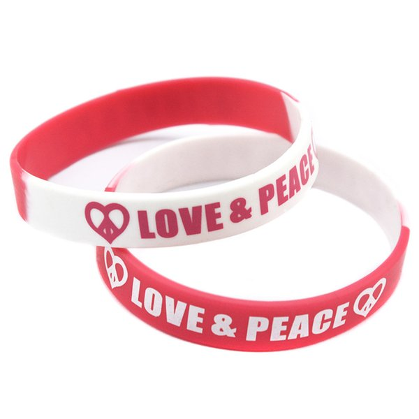 Hot Sell 1PC Printed Logo Bracelet Love and Peace Silicone Rubber Wristband For Chrity Foundation Activity