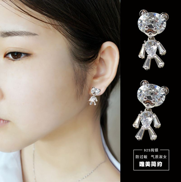 Woman headdress hair Colorful plaid (jewelry) female temperament Earrings Ear Clip Earrings Sterling Silver Ear Japan Korea anti allergy E00