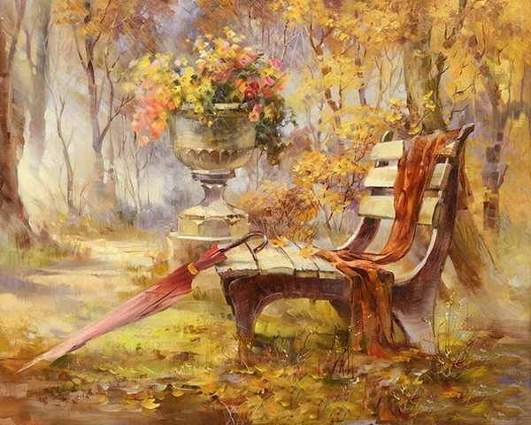 Frameless Autumn Garden DIY Painting By Numbers Kits Handpainted Oil Painting Acrylic Paint On Canvas Home Decor Wall Decoration