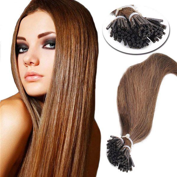 Keratin stick i tip brazilian human hair straight light brown pre-bonded human hair extensions 1g/pcs 300pcs full head