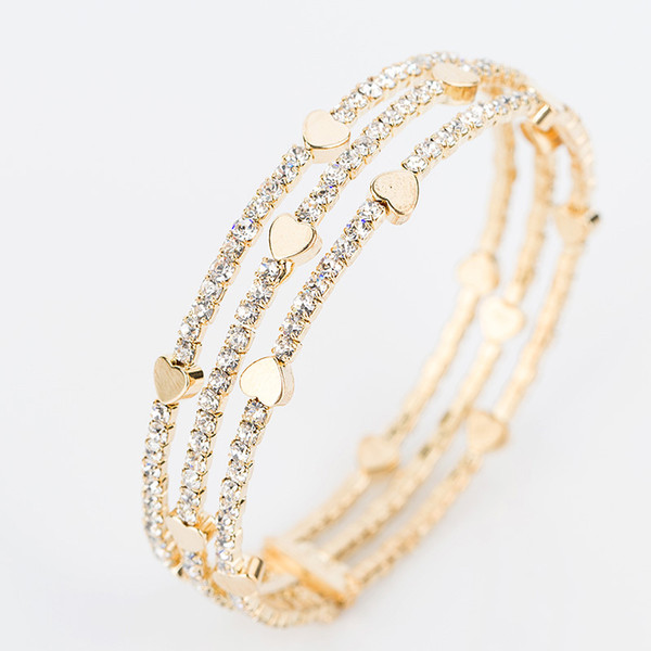 top popular New Fashion Elegant Women Bangle 3 row Wristband Bracelet Crystal Cuff Bling Lady Gift Bracelets & Bangles B020 2021