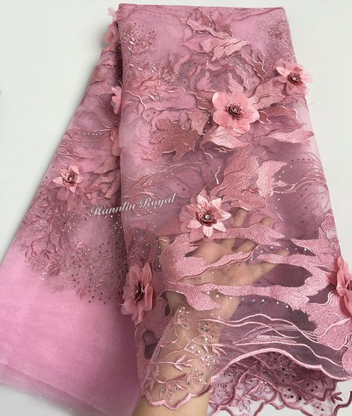 best selling upscale dusty Pink french lace tulle lace African mesh fabric with Super big floral 3D appliques diamonds one side edge border