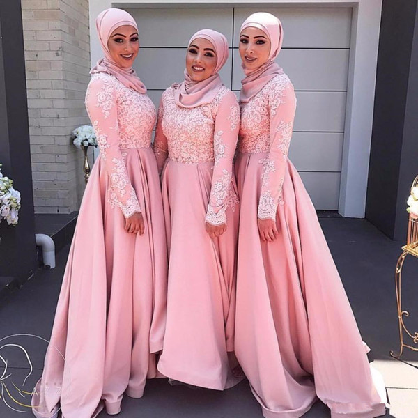 Pink Long Sleeves Muslim Evening Dresses 2018 Hijab Abaya Moroccan Kaftan Lace Appliques A Line Formal Prom Party Gown Semi Formal Dresses Ball Gowns