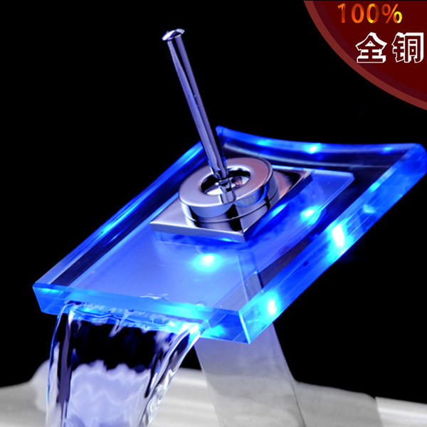 All the copper LED waterfall faucet Hot and cold water falls Light tap temperature change color mix faucet