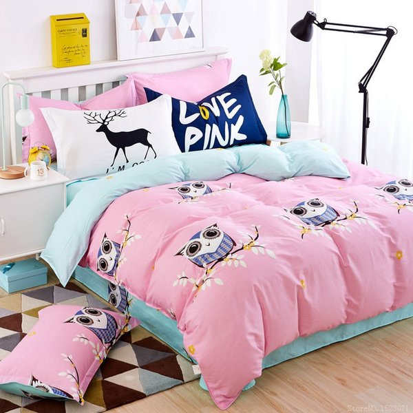 Wholesale- Pink owl girls/boys bedding set bright color fish horse music car bed linen kids duvet cover sets twin full queen king size