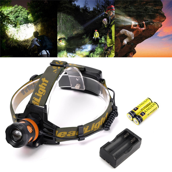 Rechargeable CREE XML T6 Zoomable Head Lamp LED Headlamp 2x 18650 Battery Headlight LED head torch light adjustable focus