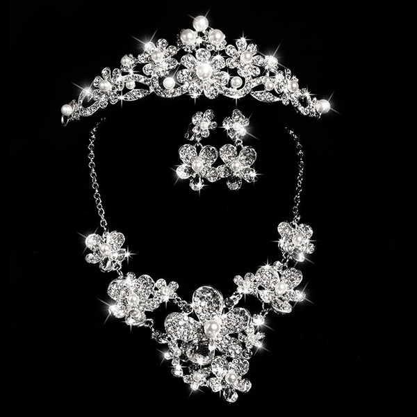 Bride Fashion Costume Jewelery Sets New Design Crystals Bride 3pcs Set Necklace Earrings Tiara Crown Bridal Women Wedding Hair Jewelry Set