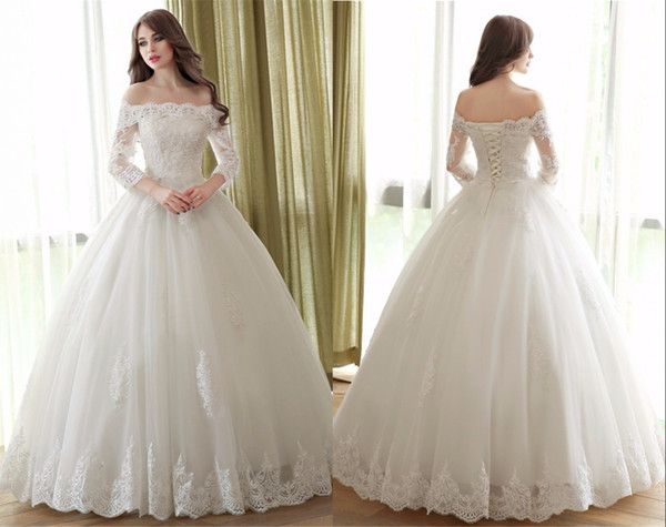Cheap White Ball Gown 2017 Wedding Dresses Lace-up Back Long ...