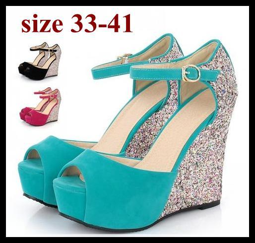 Glitter Paillette blue wedding shoes high platform wedge sandals sexy high heel sandal plus size women shoes size 40 41 to small size 33