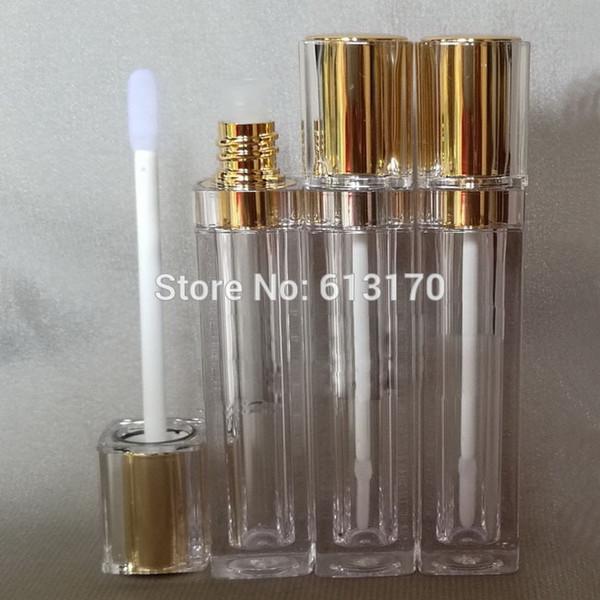 Spedizione gratuita 8ml lip gloss tubi con tappo oro Doppia parete, contenitore di imballaggio quadrato Lip stick, bottiglia di balsamo per labbra fai da te vuoto