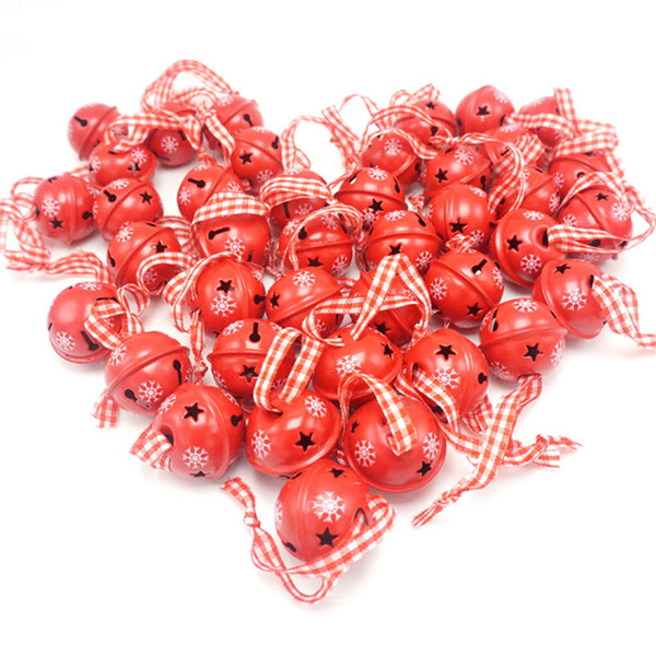 Wholesale-Christmas decoration 40 pcs red metal snowflake jingle bell Christmas ornament for home 30mm party decoration tree pendant