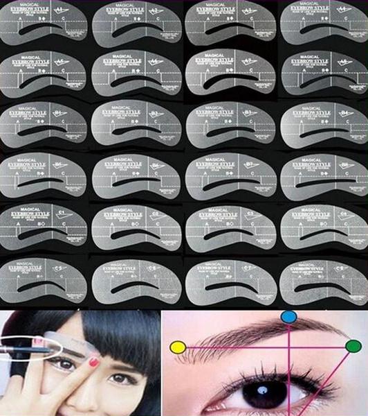 Vente en gros-nouvelle arrivée 24 styles / ensemble de sourcils gabarit Maquiagem Kit sourcils modèle gabarits constituent des outils de façonnage Sobrancelha