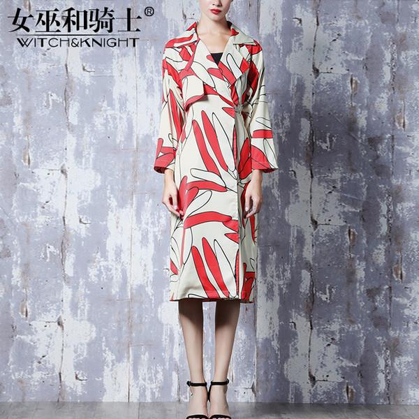 Пальто женское, Новая осень, Рукавная печать с V-образным вырезом, Ветровка, Длинный параграф Колено, Женская одежда оптом