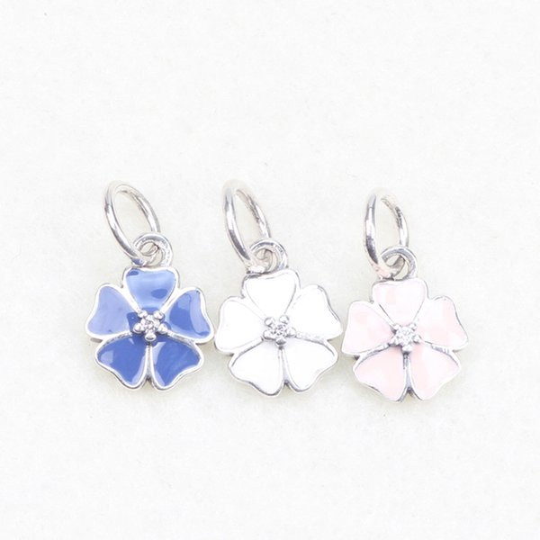 a63a669bb Pink Enamel Primrose Charms Original 925 Sterling Silver Dangle Flower  Charm Beads For Jewelry Making DIY