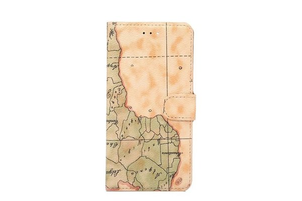 DOLMOBILE World Map Retro Design PU Leather Case Cover with Stand for iPhone 7 Plus 6 6G 6S Plus with Credit Card Slots 100pcs