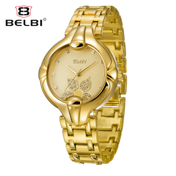 AAA Brand Name BELBI Leaf Women Luxury Wrist Watches Quartz Fashion T/T Gold Quartz Battery Wrtistwatches Top Quality Best Gift for Ladies