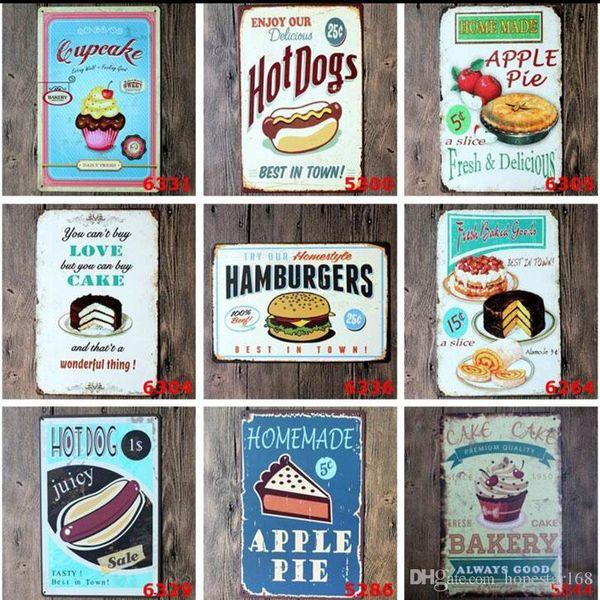 Cake Snacks Hamburger Retro Poster Metal Painting Tin Sign Ktv Bar House Decor Vintage Signs 20*30cm