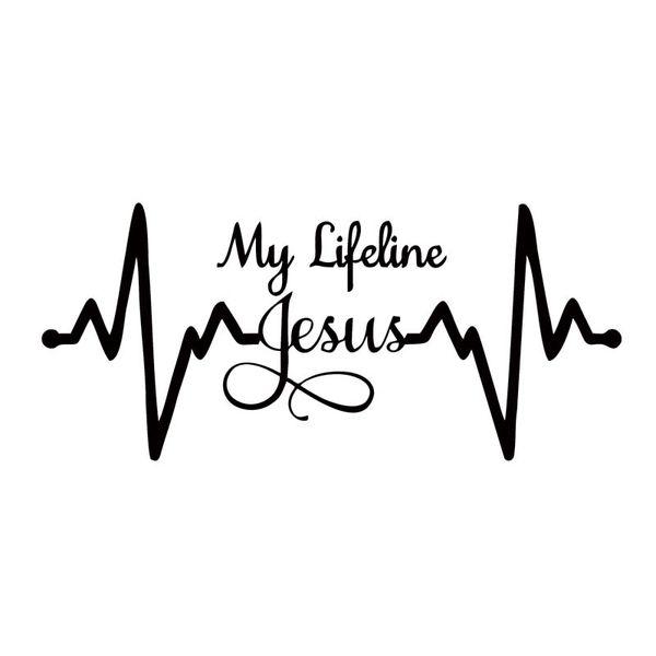 Per My Lifeline Jesus Decal Sticker Christian Dio Religioso Car Car Styling Jdm Car Window Truck Accessori in vinile Decorare