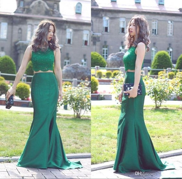 2017 New Green Two Pieces Prom Dresses Jewel Lace Top Mermaid Long Formal Evening Gowns Party Pageant Dress For Women Cheap Custom 2016