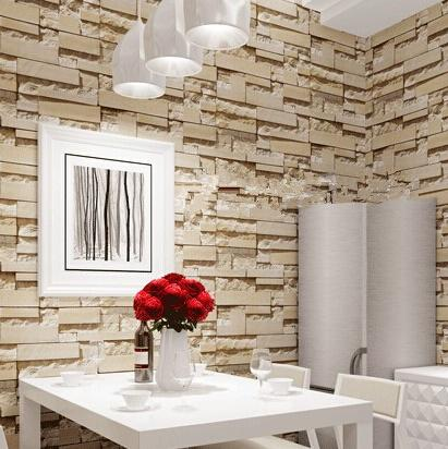 Wholesale- New style 3D Luxury Wood Blocks Effect Brown Stone Brick 10M Vinyl Wallpaper Roll Living Room Background Wall Decor Wall Paper