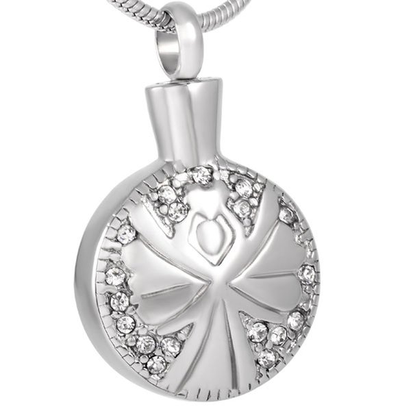IJD8361 Free engraving charm Stainless Steel Urn Cremation Open Pendant Necklace Angels Ash Holder Mini Keepsake Jewelry