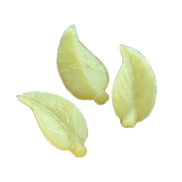 1pcs Natural yellow lemon jade carved leaves pendant diy leaf necklace Handmade material accessories jewelry adorable pendant