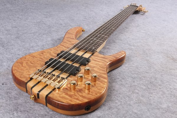 top popular Wholesale- New Arrival Custom 6 strings Handmade Electric Bass guitar, Active Pickups smith bass, Gold hardware 2020
