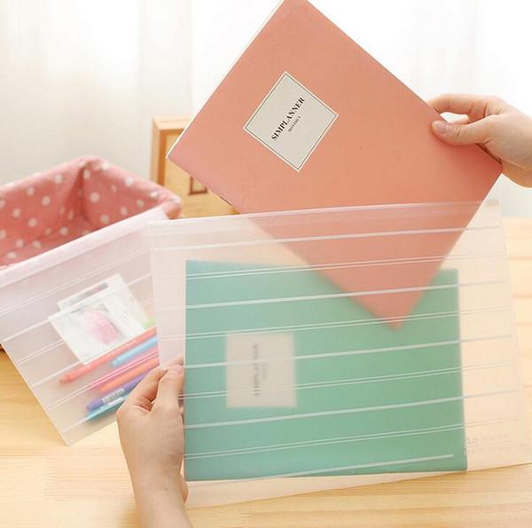 cute korean stationery filing products cute transparent plastic file folders document bag filing bag organizer storage bag