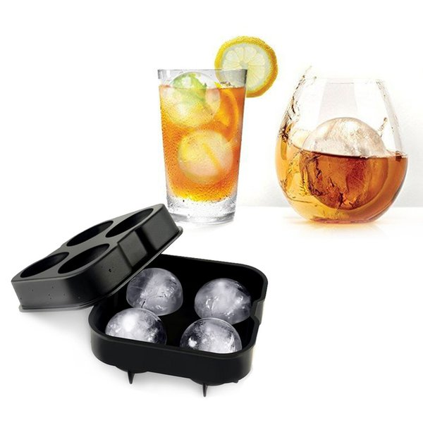 Cocktail Ice Cube Ball 4 Large Sphere Mold Silicone Ice Ball Mold Maker 12 x 12 x 5cm