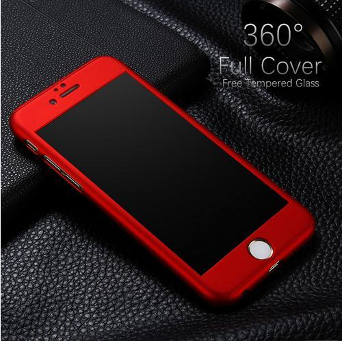 Hybrid 360 Degree Full Body Coverage Protective Case Cover with Tempered Glass Screen for iPhone 7 6 6S Plus SE 5S