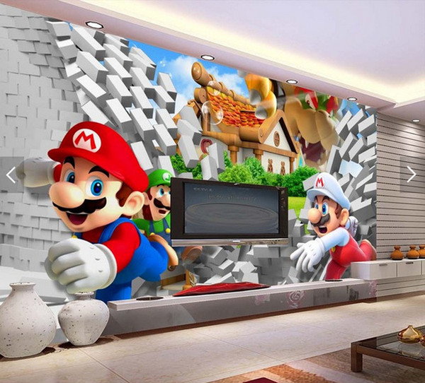 top popular Cartoon Large Mural 3D Super Mario Wallpaper Mario Brothers Theme Pack Room Children's Room Amusement Park Wallpaper 2019