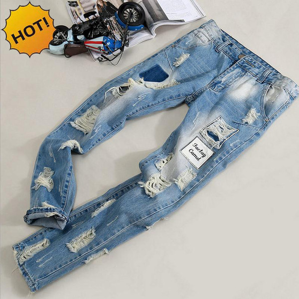 Fashion Mens Hole Ripped Jeans Men beggar Patch Slim Fit Stretch Washing Light Blue Hip Hop Street Wear BOYS Harem Pants Bottoms