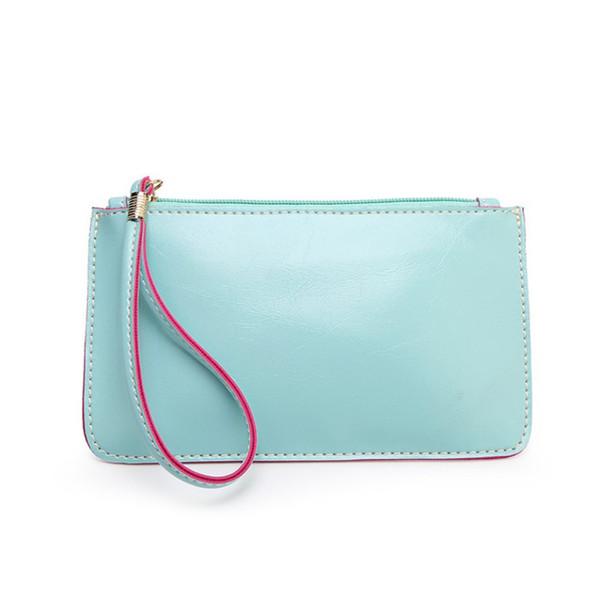 Wholesale- Women Envelope Clutch Bag Solid Leather Zipper Coin Purse Girl Small Fresh Change Bag Phone Bag Monederos Mujer Monedas #8125