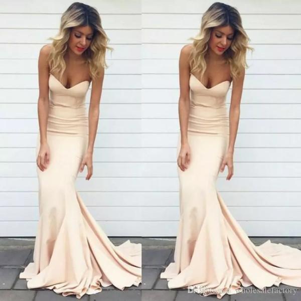 2019 semplice prom dresses sirena abiti colore nudo sweetheart collo sweep treno abiti da sera formale lunghe donne celebrity abiti da festa
