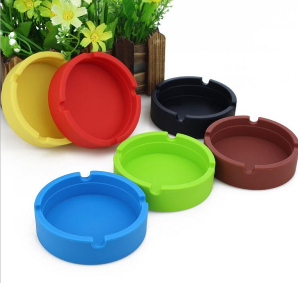 Silicone Square round Ashtray Ash Case 8*8*2.3cm Portable Soft Pocket Shatterproof Cigar Rubber 9 color High temperature resistance