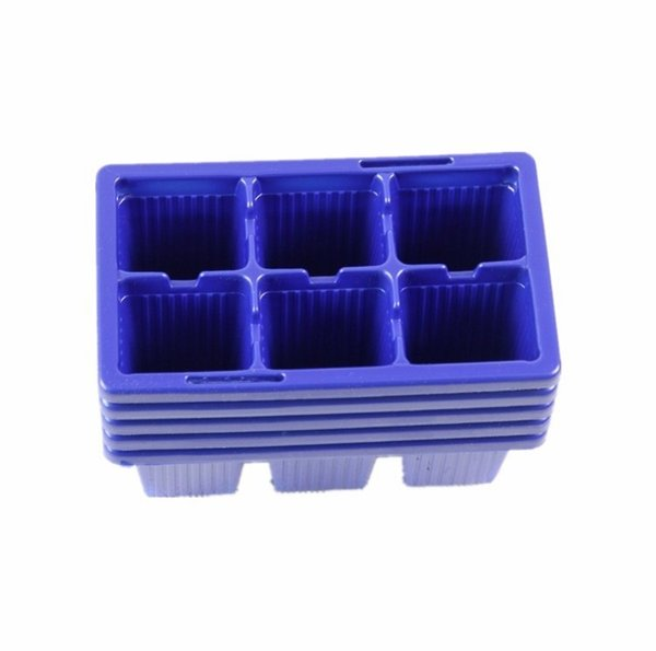 10 PCS Plastic Nursery Pots 6 Holes Plant Seedling Tray Sprout Plate Garden Tray Tool Box Blue Color Wholesale