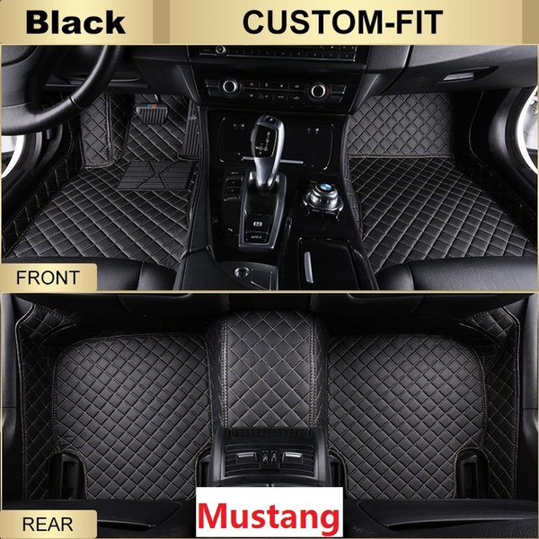 SCOT All Weather Leather Car Floor Mats for Ford Mustang Waterproof Anti-slip 3D Front & Rear Carpets Custom-Fit Left-Hand-Driver-Model