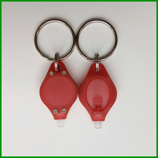Wholesale promotional gifts customized RED color of body mini led Strong UV Light key chain with metal keyring expoxy sticker of logo