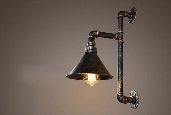 Murale Industrielles Éclairage Métal Pipe Eau 110v Murales Acheter Lampes 220v Edison E27 Vintage Entrepôt Luminaires Muraux Applique De À roxBCed