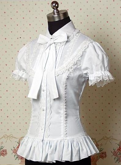 2017 Summer Dark White Cotton Short Sleeve Notched Collar Cute lolita blouses,Halloween Lace Costumes for Women