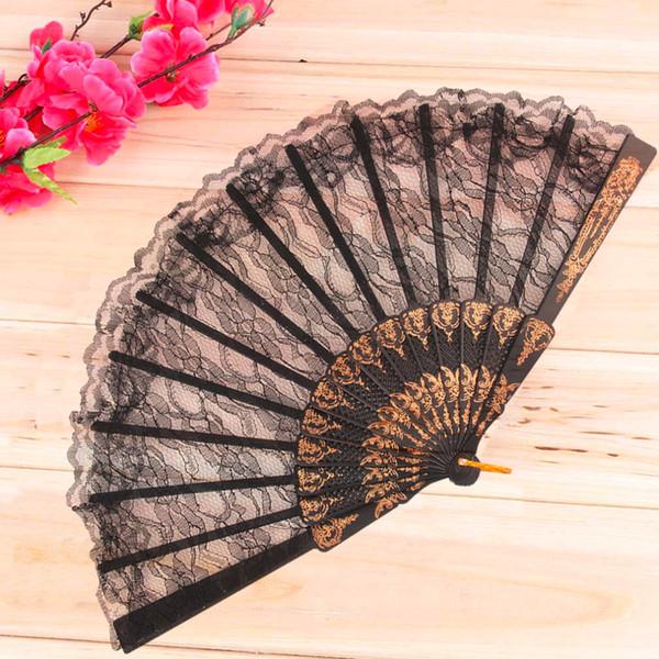 Worldwide 1pcs Vintage Fancy Dress Costume Chinese Costume Party Wedding Dancing Folding Lace Hand Fan Black Free Shipping