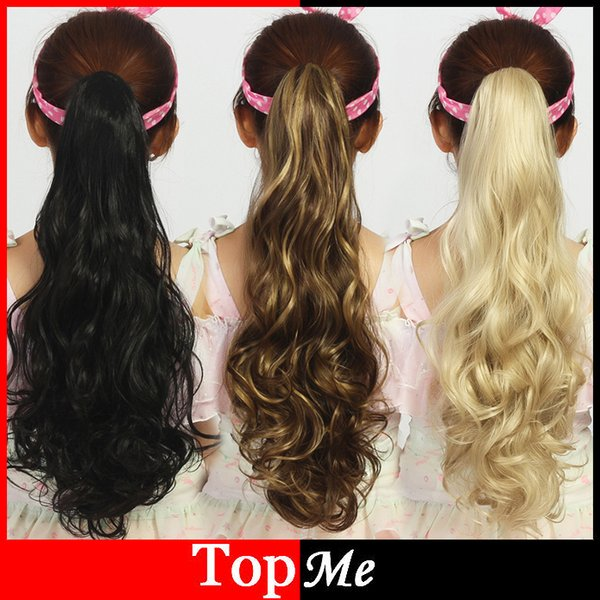 Wholesale-Women Ponytails 180g 50cm Long Claw Clip Wavy Hair Extensions Synthetic Curly One Piece Sexy Lady Black Beige Ponytail HairPiece
