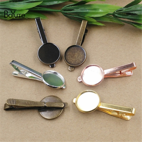 BoYuTe 10Pcs 7 Colors Plated Round 16MM 18MM 20MM Cabochon Base Diy Tie Clip Blank Tray Bezel Jewelry Findings Components(GBR)