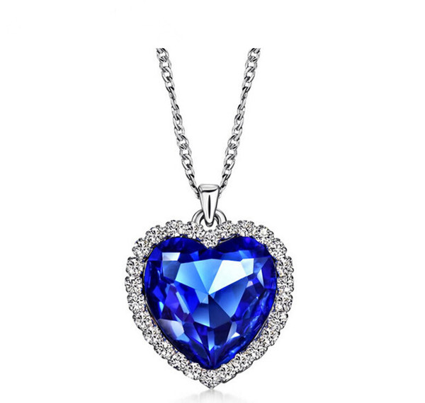 Wholesale-Classic Zircon Titanic Ocean Heart Necklace Sapphire Dark Blue Crystal Heart Pendant Statement Chain Necklace Woman Jewelry N54