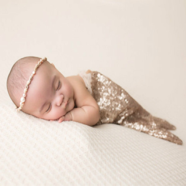 Newborn Sequin Mermaid Prop Princess Baby Dress Sitter Dress Photo Prop For Baby Flower Clothing for Infant